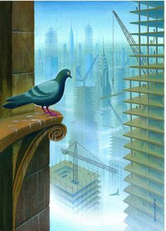 Eric Drooker Original Watercolor 'Bird's Eye View' New Yorker Magazine Cover - Eric Drooker - RonSusser.com