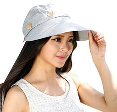 Amazon.com  Bellady Women s Button 2 in 1 Beach Sun Hat Visor Hat With Big  Brim d4c50d3a1c7