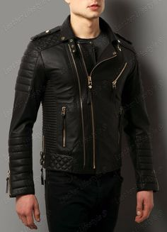 c4bd9944a913 New Men s Genuine Lambskin Leather Jacket Black Slim fit Biker Motorcycle  jacket