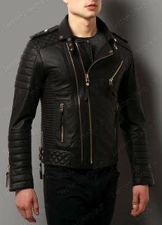 New Men's Genuine Lambskin Leather Jacket Black Slim fit Biker Motorcycle jacket #LeatherLifestyle #Motorcycle