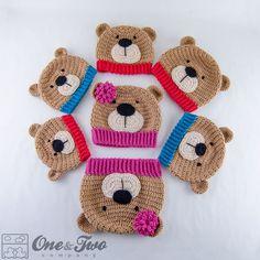 Teddy Bear Hat PDF Crochet Pattern 7 sizes by oneandtwocompany