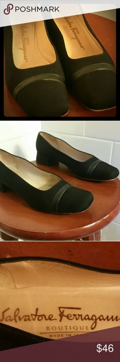 Salvatore Ferragamo 7.5 EUC Black 1 1/4 inch Salvatore Ferragamo loafer style shoes. Size 7 1/2, black fabric with a leather strip Ferragamo logo (see photos). The bottoms have some wear, otherwise they perfectly new!!! Salvatore Ferragamo Shoes Flats & Loafers