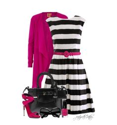 Pretty black and white with a splash of pink.