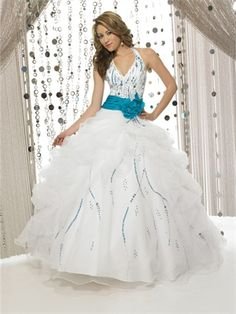 Ball Gown Halter V-neckline with Beading and Flower Floor Length Organza Satin Quinceanera Dress QD1123 www.dresseshouse.co.uk $153.0000 ----2012 Quinceanera Dresses, Quinceanera Ball Gowns,2013 Quinceanera Dresses, Quinceanera Ball Gowns 2013,Quinceanera Dresses 2013,Quinceanera Dresses UK