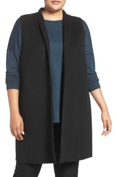 Eileen Fisher Brushed Double Face Wool Blend Vest (Plus Size)