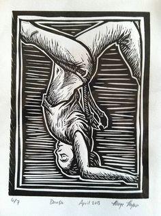 """Dança"" by Monique Payan (Tijolinho) Linoleum (Lino) cut block."