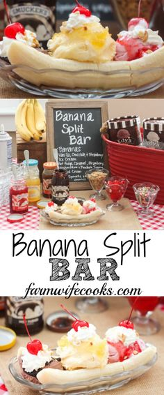 Banana Split's are a summertime favorite. This Banana Split Bar is a great idea for a birthday party or family gathering. Banana Split's are a summertime favorite. This Banana Split Bar is a great idea for a birthday party or family gathering. Banana Split Bar, Banana Split Dessert, Banana Split Ice Cream, Dessert Bars, Dessert Recipes, Banana Party, Party Food Bars, Party Snacks, Do It Yourself Food
