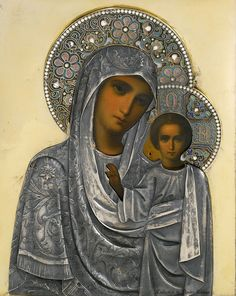 Icône russe Russian Icons, Blessed Mother Mary, Mary And Jesus, Madonna And Child, Medieval Fashion, Religious Icons, Gold Work, Orthodox Icons, Book Projects