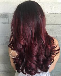 Long Burgundy Hair With Root Fade