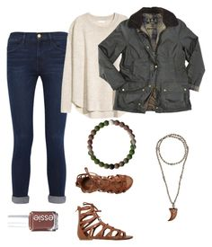 """""""Make em' look twice"""" by madisondoscher on Polyvore featuring Frame, H&M, Barbour, O'Neill, Hipchik and Essie"""