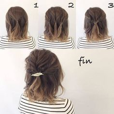 10 Easy Hairstyles To Mix It Up Curly Hair Styles, Short Hair Styles Easy, Medium Hair Styles, Short Hair Updo Easy, Ideas For Short Hair, Short Hairdos For Wedding, Long Short Hair, Hair Up Ideas, Short Hair Bridesmaid Hairstyles