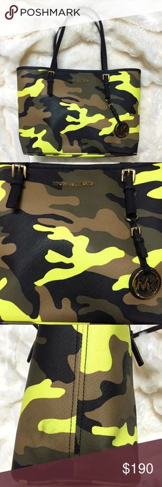 MICHAEL KORS Acid Yellow Camo Small Jet Set Tote Pre-loved in excellent condition! This MICHAEL KORS Acid Yellow Camo Small Jet Set Tote Bag is a must have for any camouflage print lover! Only flaws is a tiny mark on the front (pic in 1st listing), and smudge mark on side and bottom, as shown in the last 2 pictures. Interior is clean, with no stains. Bag does not have any major signs of wear! You will not be disappointed with the condition of this bag! A discontinued print, add this to your…