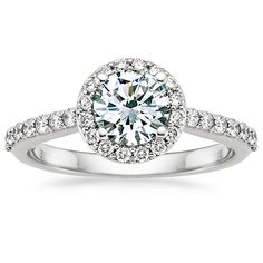 18K White Gold Halo Diamond Ring with Side Stones (1/3 ct.tw.) from Brilliant Earth