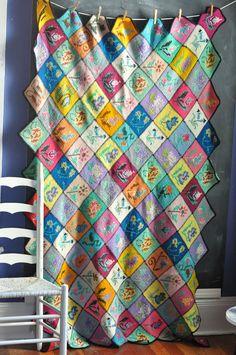 Vintage Afghan Blanket Patchwork Flower Squares 1971 Masterpiece. $125.00, via Etsy.