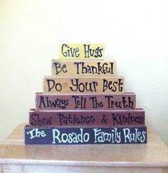 Personalized Family Name Rules Stacked Wood Blocks by GiftsbyGaby