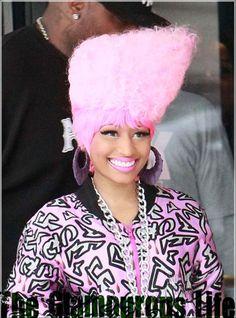 Nicki Minaj Debuts PINK High Top Hair in London