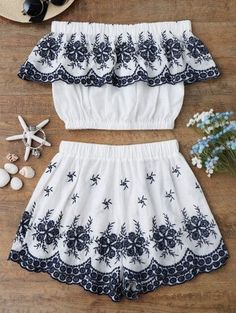 SHARE & Get it FREE | Off Shoulder Embroidered Crop Top With Shorts - White SFor Fashion Lovers only:80,000+ Items • New Arrivals Daily Join Zaful: Get YOUR $50 NOW!