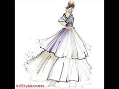 Christian Siriano - Siriano's three-tiered dress has a lace bustier and high ruffle neckline with off-the-shoulder sleeves and a full body. Twilight Wedding Dresses, Bella Wedding Dress, Fashion Illustration Sketches, Fashion Design Sketches, Fashion Designers, Fashion Sketchbook, Christian Siriano, Big Fashion, Fashion Art
