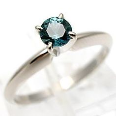 Montana Blue Sapphire Solitaire Engagement Ring Solid 14K White Gold