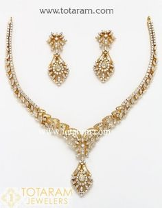 18K Diamond Necklace Sets -VVS Clarity E-F Color -Indian Diamond Jewelry -Buy Online Diamond Necklace Set, Crystal Bead Necklace, Crystal Beads, Diamond Jewelry, Beaded Necklace, Earring Set, 18k Gold, Women Jewelry, Drop Earrings