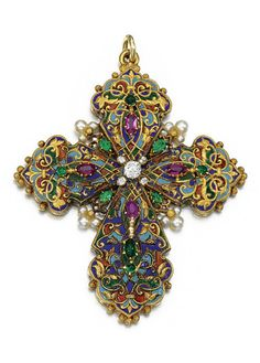 AN ANTIQUE GEM-SET, ENAMEL AND DIAMOND PENDANT, CIRCA 1890. Designed as a Latin cross, the front and reverse decorated with polychrome enamel, accented with oval rubies, variously shaped emeralds, seed pearls and circular-cut and rose diamonds.