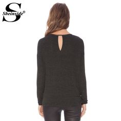 Sheinside Women Summer Grey Long Sleeve Round Neck Hollow New 2015 Design Hot Stylish Casual Slim Fitness T-shirt