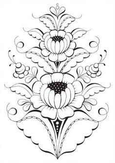 de flores Kurbits målarbok - Colouring Book - Slöjdmagasinet Picture from the coloring book - Kurbits Hand Embroidery Patterns Free, Etsy Embroidery, Christmas Embroidery Patterns, Embroidery Flowers Pattern, Simple Embroidery, Embroidery Hoop Art, Folk Art Flowers, Flower Art, Art Floral