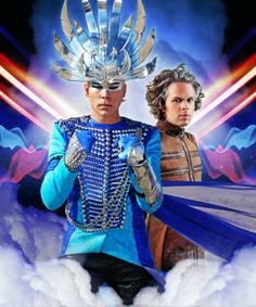 Luke Steele and Nick Littlemore of Empire of the Sun, who are at Pier 26.