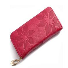 Joya - Flower Print Genuine Leather Clutch Wallet Purse