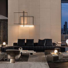 Contemporary sofa / leather / fabric / by Rodolfo Dordoni FREEMAN Minotti