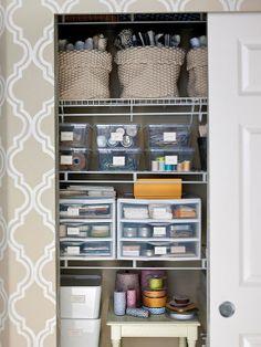 Craft Closet Organization Ideas - I like the fabric in soft baskets