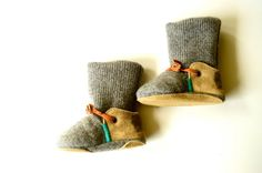 Long Legs Louise wool and leather baby and toddler house slipper boots with non-slip sole