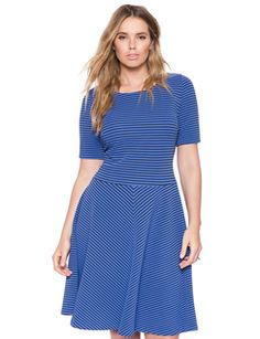 eloquii Textured Stripe Fit and Flare Dress Alaska Blue/Black #plussizefashion