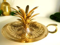 Vintage Brass Pineapple Candle Holder Hollywood Regency Mid Century Modern MCM by InventifDesigns on Etsy