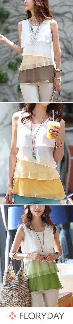 Blusas de bloques de colores con escote redondo y sin mangas #modelagem, #modelagempassoapasso
