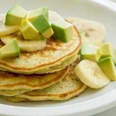 Avocado Banana Pancake Stacks: Avocados and bananas combine for a smooth batter to make scrumptious pancake recipe.