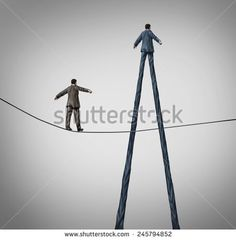 Career advantage business concept as a businessman walking on a high wire tightrope being passed by another better equipped person with long legs as a metaphor for personal skills.