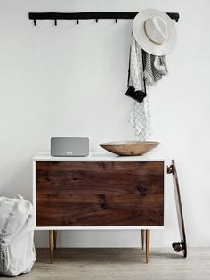 PASSPORT: Modern rustic wooden bedroom side table