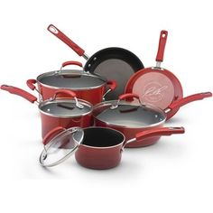 @Overstock - Color: RedSurface: Porcelain enamel nonstickMaterials: Aluminum, silicone, glass, steelhttp://www.overstock.com/Home-Garden/Rachael-Ray-II-Red-Porcelain-Enamel-Nonstick-10-piece-Cookware-Set/6246578/product.html?CID=214117 Add to cart to see special price