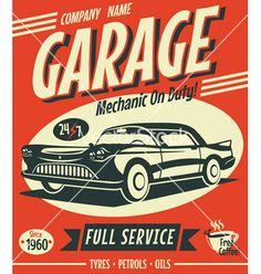 Retro car service sign vector by Laralova on VectorStock®