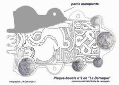 """Lauragais-Plaque-bouclze n°2 de """"La Barraque"""", la plaque en bronze est ornée de nombreuses figures géométriques d'entrelacs. La surface est habillée d'une feuille d'argent. - DAGOBERT 1°. 3)BIOGRAPHIE. 3.3 ROI DES FRANCS, 39: Les nouvelles de Bretagne parviennent difficilement à la cour de Dagobert, qui décide de voyager en Poitou, dans l'Orléanais, la Touraine et le Maine pour enrichir ses informations. Il rencontre sans doute BERTHILDE dans un grand domaine des environs d'Orléans."""