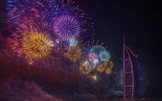 Download wallpapers Burj Al Arab Hotel, Dubai, night city, fireworks, holiday, UAE
