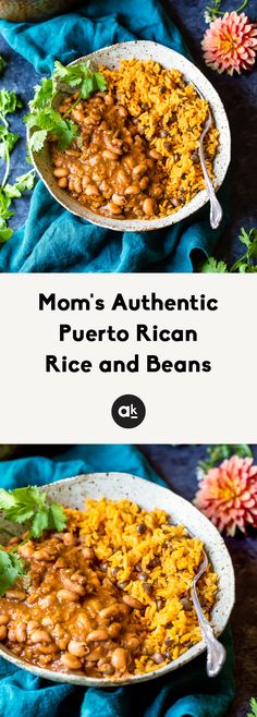 Mom's Authentic Puerto Rican Rice and Beans Mom's authentic Puerto Rican Rice and Beans with savory homemade sofrito and sazon! You'll love this incredibly flavorful, comforting homemade meal that will fill your home with. Bean Recipes, Rice Recipes, Pasta Recipes, Mexican Food Recipes, Vegetarian Recipes, Dinner Recipes, Cooking Recipes, Ethnic Recipes, Clean Eating Snacks
