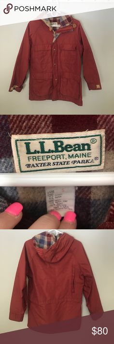 L.L. Bean Baxter State Parka Jacket Worn but in good condition. Four pockets in front. Plaid lining. Zipper and buttons in front. Maroon color L.L. Bean Jackets & Coats