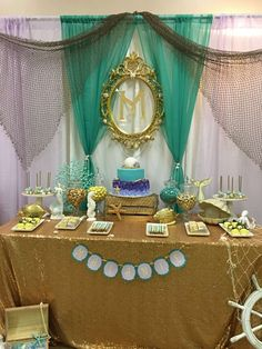 Jasmine T's Baby Shower / Mermaid themed baby shower - Photo Gallery at Catch My Party Little Mermaid Birthday, Little Mermaid Parties, Baby Birthday, Baby Shower Parties, Baby Shower Themes, Baby Shower Decorations, Shower Ideas, Mermaid Baby Showers, Baby Mermaid