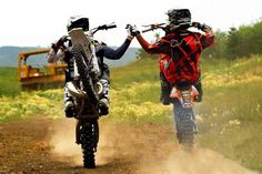 I can totally see @Wren Johnson and I doing this! High-fiving on our dirtbikes! Heehee!