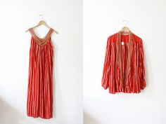 Vintage Red and Gold Grecian Gauze Set / Hippie / by wemovevintage