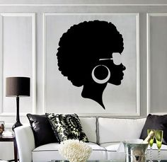 Details about Vinyl Wall Decal Afro Hairstyle Black Lady Beauty Salon Stickers Mural Sticker Vinyle Afro Coiffure Dame Noire … Vinyl Art, Vinyl Wall Decals, Wall Stickers, Black Women Art, Black Art, Arte Do Hip Hop, African Home Decor, Afro Art, Room Wall Decor