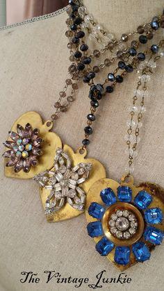 SALE The Vintage Junkie...Vintage Heart Pendant Necklace with