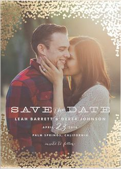 A gold foil Save the Date that would be perfect for a colorful Fall Wedding.